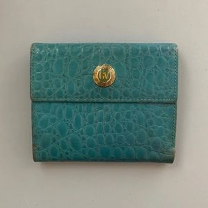 Auth Versace Vintage Blue Alligator Wallet!